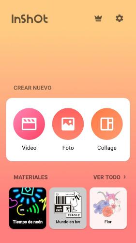 pantalla principal inshot